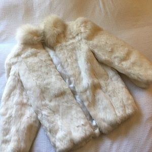 Jackets & Blazers - 100% Real Rabbit Coat with Fox Fur Collar